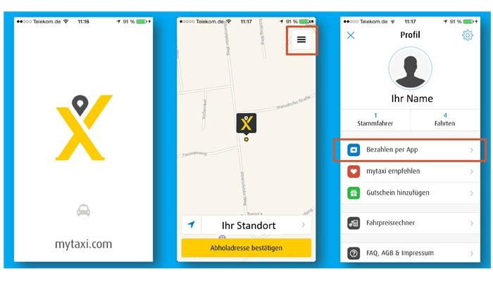 Screenshots Mytaxi-App