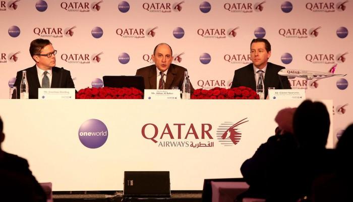 ITB 2015: Akbar Al Baker, Qatar Airways Group Chief Executive (Mitte) mit Jonathan Harding, Senior Vice President Qatar Airways (links) und Günter Saurwein, Country Manager Deutschland und Österreich Qatar Airways. Foto: Qatar Airways