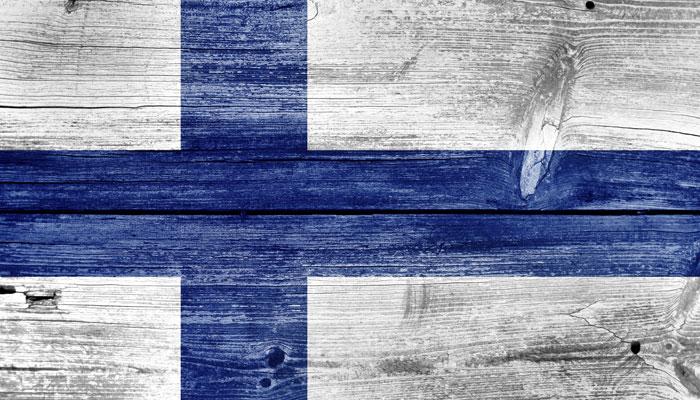 Finnische Flagge auf Holz
