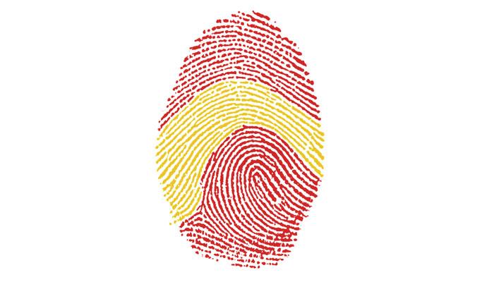 Fingerprint in den spanischen Nationalfarben