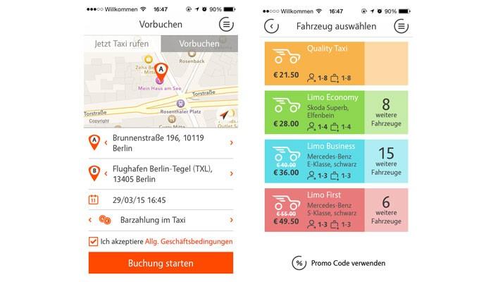Zwei Screenshots der Talixo-App