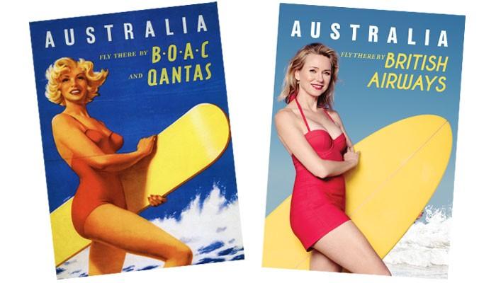 Das Original British Airways Vintage Poster und Hollywood-Star Naomi Watts