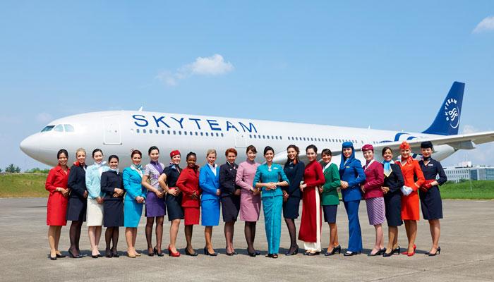 Flugbegleiterinnen Skyteam