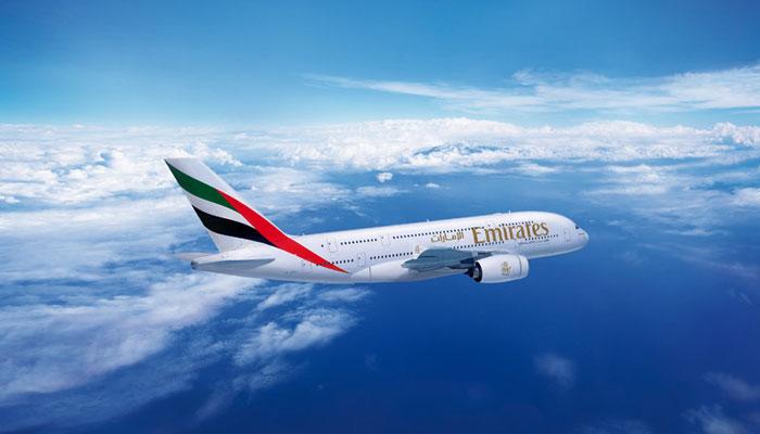 Emirates A380 während des Fluges