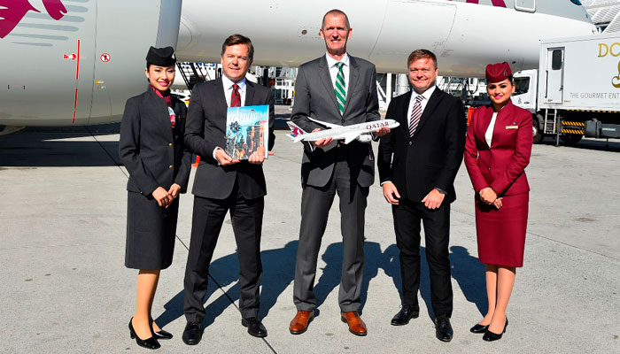 (Von links nach rechts): Jonathan Harding, SVP North, South and Western Europe; Andreas von Puttkamer, Head of Munich Airport's Aviation Division; Frédéric Gossot, Country Manager Germany and Austria. Foto; Qatar Airways