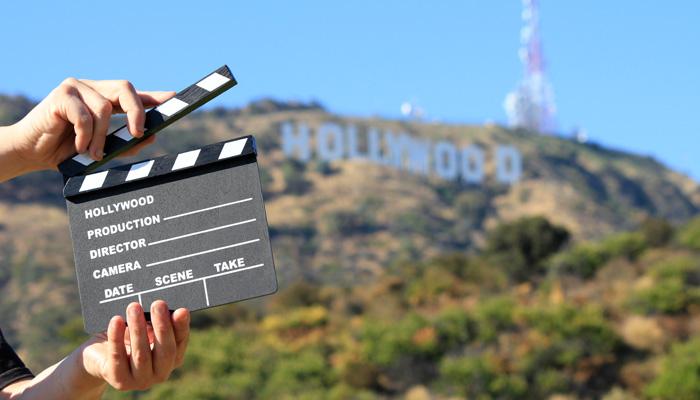 Hollywood Hills Schild Hollywood und Aufnahme-Klappe