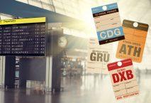 Terminalanzeige und vier verschiedene Flughafencodes