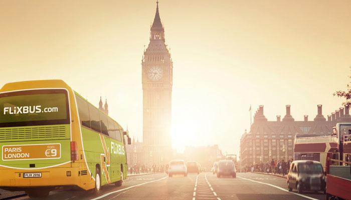 Flixbus fährt Richtung Big Ben