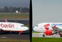 Eine Airberlin Maschine und eine Czech Airlines Maschine