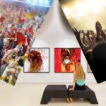 Collage: Sport-Event, Konzert, Kunstausstellung