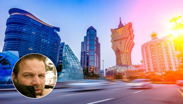 Porträt Kai Böcking und Skyline Macau