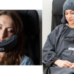 Frau mit Nodpod und Reisedecke