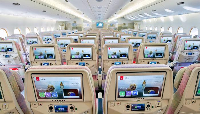 Sitze in der Economy Class bei Emirates