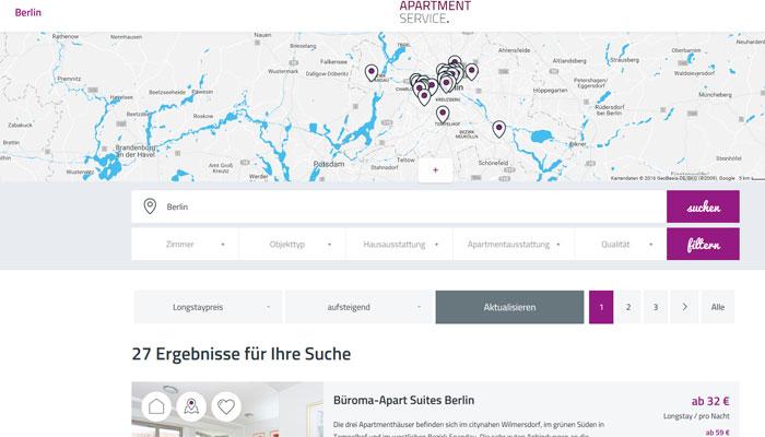 Website Apartment Service Suche Berlin