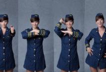 Dame in Uniform tanzt