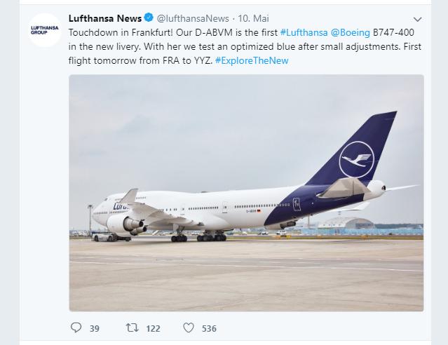 Screenshot Lufthansa AG Twitter