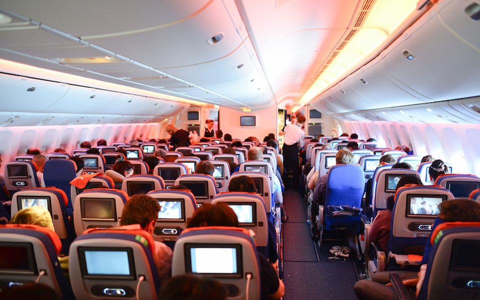 Blick in die Kabine einer Boeing 777 der Aeroflot