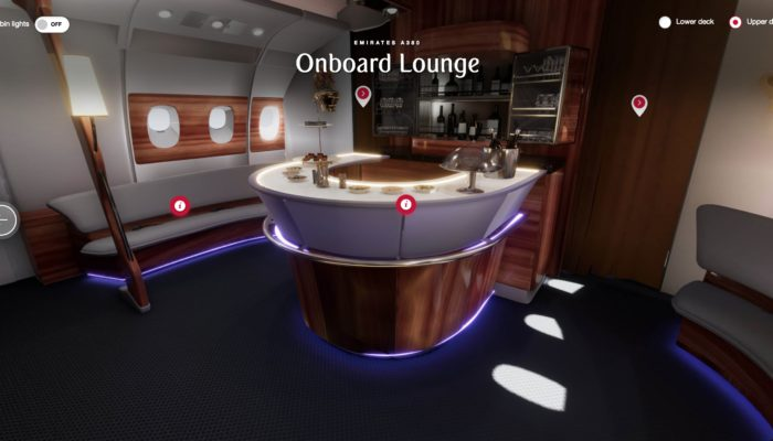 Virtueller Rundgang in der Bord-Lounge. Foto: Emirates