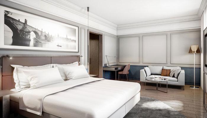 Zimmer im neuen Radisson Blu Hotel Prag