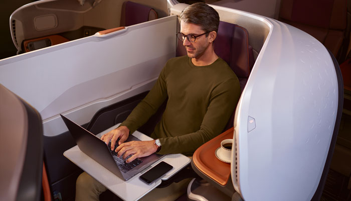 Passagier in der Business Class im neuen A380