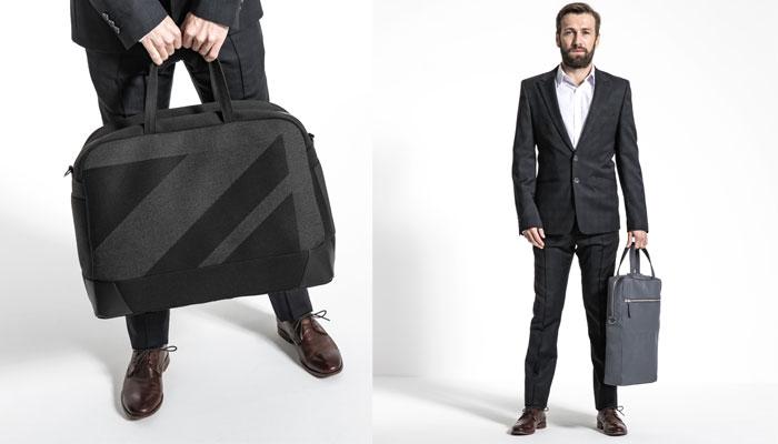 Reisetasche Landaulet mit Union Jack (links) und die Laptop-Tasche Runabout 2 von Verdeq