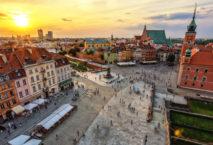 Altstadt Warschau von oben in der Abendsonne
