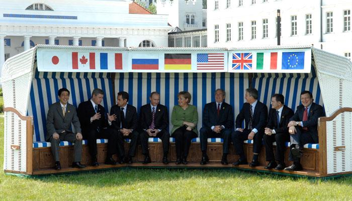 G8 Regierungschefs im Standkorb in Heiligendamm