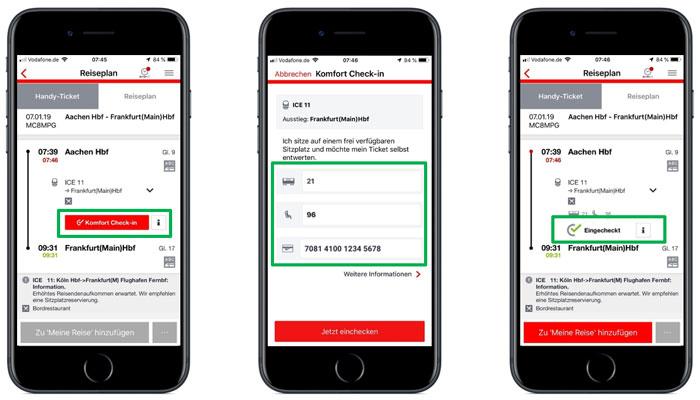 Screenshots Komfort Check-in; Bild: DB AG
