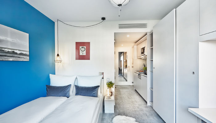 Zimmer H.ome Serviced Appartments München im Quartier Mo82; Foto: H-Hotels.com