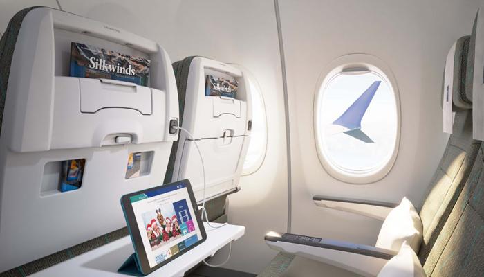 Die Kabine in der Silk Air Boeing 737 Max 8. Foto: Silk Air