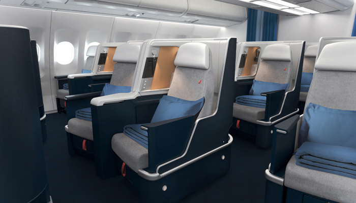 die Business-Class-Sitze der Air France in der A330. Foto: Air France