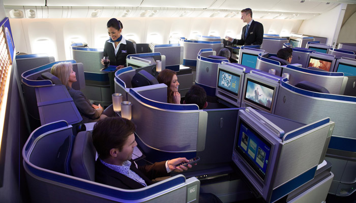 Blick in die United Polaris Business Class. Foto: United Airlines