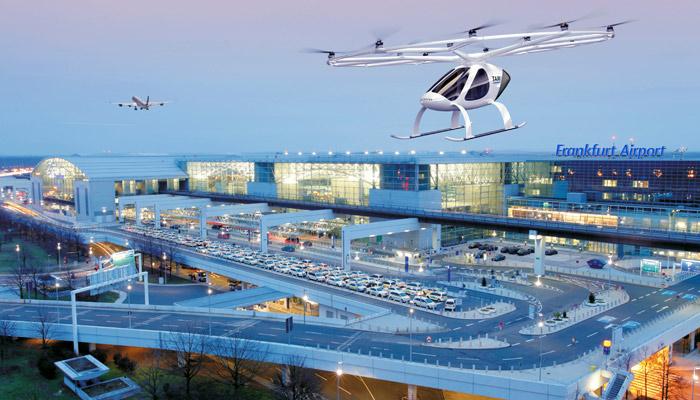 der Volocopter am Flughafen Frankfurt. Bild: Fraport AG/Volocopter GmbH