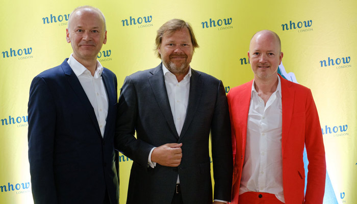 Von links nach rechts: Hermann Spatt (General Manager nhow London); Maarten Markus (Managing Director Northern Europe); James Soane (Director Project Orange); Foto: © Owen Billcliffe Photography