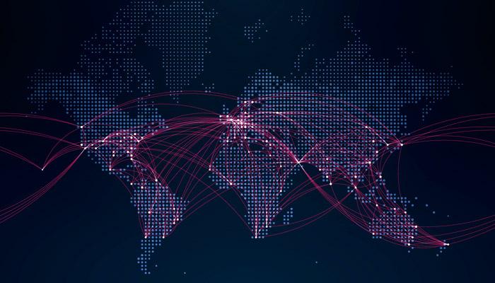 Weltkarte mit Flugrouten; Foto: iStock.com/jamielawton