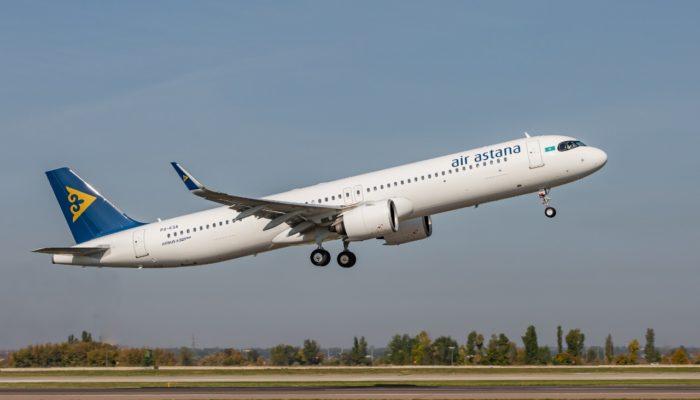 """Der Erste von sechs für die Flotte der Air Astana: der Airbus A321LR """"Super Arrow"""". Foto: Air Astana"""