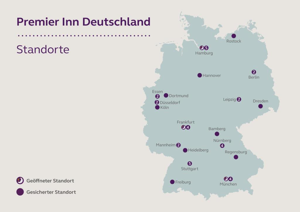 20 in 2020: Das ist der Eröffnungsplan für Premier Inn in Deutschland. Grafik: Premier Inn