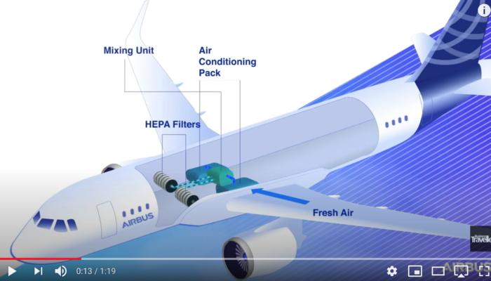Wie sauber ist die Luft in der Flugzeugkabine. Screenshot: Business Traveller/YouTube.com