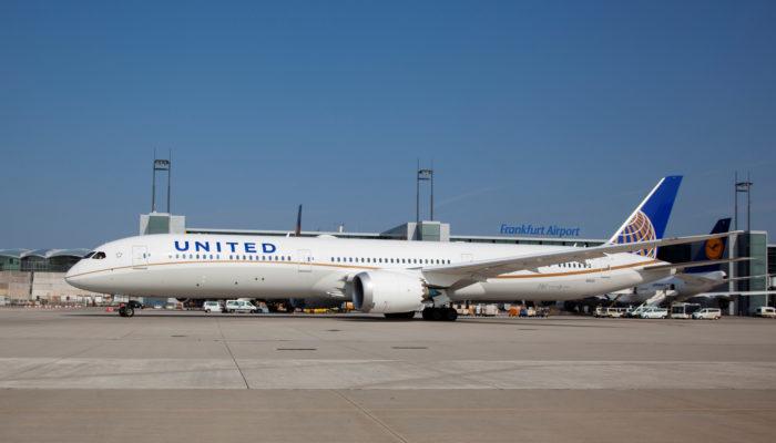 United Airlines B787-10 Dreamliner am Flughafen Frankfurt. Foto: Fraport Sabine Eder
