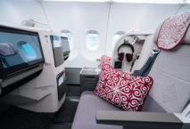 Die Business Class in der Airbus A321LR der Air Astana. Foto: Air Astana