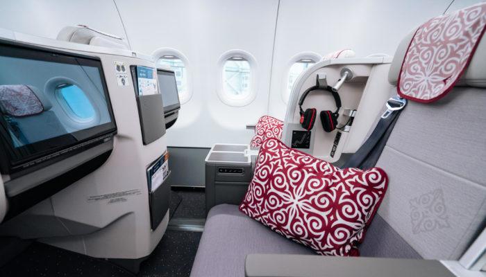 Die Business Class in der Airbus A321LR der Air Astana. Foto: Air Astana