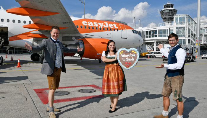 Easyjet startet wieder von München zum Londoner Flughafen Gatwick. Foto: Flughafen München GmbH, Unternehmens- kommunikation